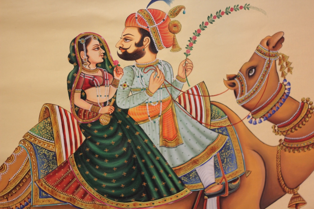 Maharajas of Udaipur - Miniature painting on canvas
